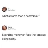 Food, Memes, and Money: @orbofnite  what's worse than a heartbreak?  Alexis  Sixela  Spending money on food that ends up  being nasty. There isn't true pain like spending $10 on a terrible watered down iced coffee 😭☕️💯(twitter - orbofnite & __Sixela__)