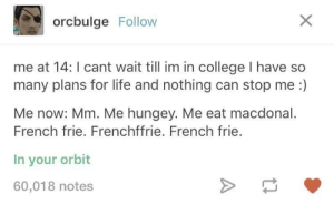 College, Life, and French: orcbulge Follow  me at 14: I cant wait till im in college I have so  many plans for life and nothing can stop me :)  Me now: Mm. Me hungey. Me eat macdonal.  French frie. Frenchffrie. French frie.  In your orbit  60,018 notes French frie
