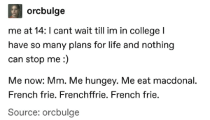 College, Life, and French: orcbulge  me at 14: I cant wait till im in college l  have so many plans for life and nothing  can stop me:)  Me now: Mm. Me hungey. Me eat macdonal.  French frie. Frenchffrie. French frie.  Source: orcbulge