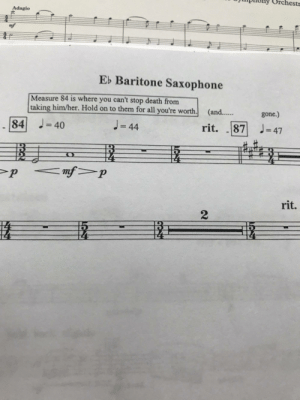 band_irl: Orchestr  Adagio  mf  Eb Baritone Saxophone  Measure 84 is where you can't stop death from  taking him/her. Hold on to them for all you're worth.  (and..  gone.)  J= 47  J= 44  84 J= 40  rit.  87  %3D  %3D  <mf>p  rit.  2) band_irl