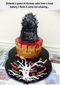 <p>The Edible Throne Is An Amazing Detail.</p>: Ordered a game of thrones cake from a local  bakery, I think it came outa  mazing...  Y NAME DA  NICK  IS <p>The Edible Throne Is An Amazing Detail.</p>