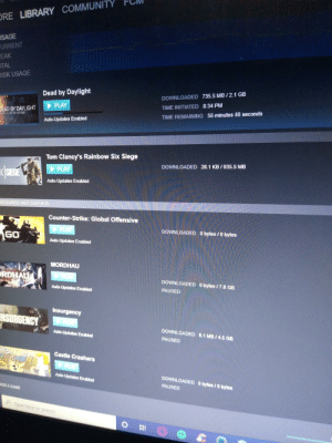 Does anyone else have to revalidate files after every update?: ORE LIBRARY COMMUNITY  USAGE  URRENT  EAK  OTAL  DISK USAGE  Dead by Daylight  DOWNLOADED 735.5 MB/2.1 GB  PLAY  TIME INITIATED 8:34 PM  DEAD BY DAYLIGHT  eahs not an escape  TIME REMAINING 56 minutes 38 seconds  Auto-Updates Enabled  Tom Clancy's Rainbow Six Siege  DOWNLOADED 28.1 KB/935.5 MB  r SEE  PLAY  Auto-Updates Enabled  REQUIRED (NOT QUEUED)  Counter-Strike: Global Offensive  PLAY  DOWNLOADED  O bytes / 0 bytes  GO  Auto-Updates Enabled  MORDHAU  ORDHAU  DOWNLOADED  O bytes /7.8 GB  Auto-Updates Enabled  PAUSED  Insurgency  NSURGENCY  DOWNLOADED 8.1 MB/45 GB  Auto-Updates Enabled  PAUSED  ASTLE  RASHERS  Castle Crashers  DOWNLOADED  Auto-Updates Enabled  O bytes/0 bytes  PAUSED  ADD A GAME  Type here to search Does anyone else have to revalidate files after every update?