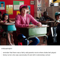 Drake, Drake Bell, and Funny: orelpuppington:  reminder that there was a fairly odd parents movie where drake bell played  timmy turner who was canonically 23 and still in elementary school