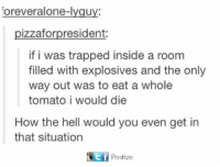 tomatos: orever alone-lygu  pizzafor president:  if i was trapped inside a room  filled with explosives and the only  way out was to eat a whole  tomato i would die  How the hell would you even get in  that situation