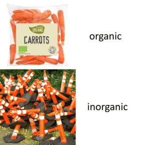 Reddit, Orange, and Com: ORGANIC  CARROTS  organid  norganic [Src]