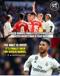 And Madrid also lost 👌😂: ORGANIZATION  AL  SERGIO RAMOS.FINALLY GETSARED CARD  AFTER MORE THAN AYEAR NOW  THE WAITIS OVER!  ITS FINALLY OVER  FOR SERGIO RAMOS.  f @AZRORGANIZATION  FIFA  adidas  Fly  mirates And Madrid also lost 👌😂