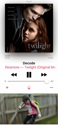 Funny, Twilight, and How: ORIGINAL  MOTION  PICTURE  SOUNDTRAC  twilight  0:24  3:58  Decode  Paramore Twilight (Original Mo   A  SWIS HOW DID WE GET HERE WHEN I USED TO KNOW YOU SO WELL https://t.co/V9OeOQJPnx