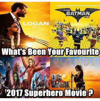 Which one was your favorite movie ? Via @dcmarvelcomicsmovies ! dc dccomics dceu dcu dcrebirth dcnation dcextendeduniverse batman superman manofsteel thedarkknight wonderwoman justiceleague cyborg aquaman martianmanhunter greenlantern theflash greenarrow suicidesquad thejoker harleyquinn comics injusticegodsamongus: ORIGINAL MOTION PICTURE SOUNDTRACK  THELEOOT  BATMAN  LOGAN  MARCH 3  What's Been Your Favourite  2017 Superhero Movie P Which one was your favorite movie ? Via @dcmarvelcomicsmovies ! dc dccomics dceu dcu dcrebirth dcnation dcextendeduniverse batman superman manofsteel thedarkknight wonderwoman justiceleague cyborg aquaman martianmanhunter greenlantern theflash greenarrow suicidesquad thejoker harleyquinn comics injusticegodsamongus