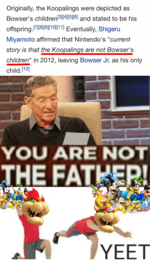 """Bowser, Children, and Target: Originally, the Koopalings were depicted as  Bowser's children31415)16] and stated to be his  offspring.  Miyamoto affirmed that Nintendo's """"current  story is that the Koopalings are not Bowser's  children"""" in 2012, leaving Bowser Jr. as his only  child [12]  7819110 11 Eventually, Shigeru   YOU ARE NOT  THE FATVER  YEET transboyoshi:I'm shook."""