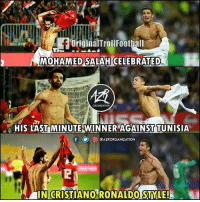 "Memes, Celebrated, and 🤖: originalTrollFootball  MOHAMED SALAH CELEBRATED  ORGANIZATION  gra HIS LASTİMİNUTE WİNNER""AGAINST TUNISIA  步回@AZRORGANIZATION  İ INGRISTIANORONALDO STYLE!)"