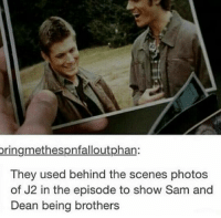 Memes, 🤖, and  Awws: oringmethespnfalloutphan:  They used behind the scenes photos  of J2 in the episode to show Sam and  Dean being brothers Aww 💓 ~Nathouツ