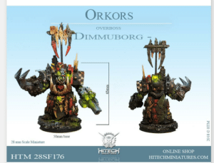 Ah yes my favourite 40k faction the orkors: ORKORS  OVERBOSS  DIMMUBORG  50mm base  28 mm Scale Miniature  HITECH  ONLINE SHOP  MINIATURES  HTM 28SF176  HITECHMINIATURES.COM  WIUNVLTHER  LTECH  65mm  2018 © HTM Ah yes my favourite 40k faction the orkors