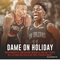 ORLEANS  DAME ON HOLIDAY  WHEN GUARDED BY JRUE HOLIDAY, DAMIAN LILLARD HAS 7 POINTS  ON 2-18 FROM THE FIELD IN THE FIRST 2 PLAYOFF GAMES  CLUTCHPOェ TS Is Jrue Holiday the best 2-way Point Guard in the NBA?