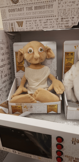 """Dobbie looks like he has seem some unspeakable horrors.: ORMIENS  UNQUAS  CONTACT THE MINISTRY  it un ea.  viu  IF YOU HAVE ANY INFORMATION  , এeepa  P'O  तोट ी २.)  Age 3+  TRY ME  TI  PR  SEE BACK OF BOX  -১৯  ESSAIE-MOI!  VOIR AU DOS  DE LA BOÎTE  SIL MICH!  DRÜCK AUF  TASTE  """"TESTE MICH""""  AUF DER RÜCKSEITE  DER VERPACKUN  caotor:aly  HOOWARTS SCHOOL  LIST  MEINEN BAUCH  sipy  PRUÉBAME!  APRIETAME LA  BARRIGA  PRUÉBAN  MIRA EN EL RE  DE LA  teuly  A CONTAC  IF YOU HAV  ta bie  fap. 46  IF  SAVE  Funktionsplüschtier mit Sound-Funktion 