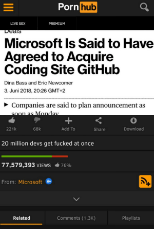 Microsoft, Sex, and Live: orn  hub  LIVE SEX  PREMIUM  DeaiS  Microsoft ls Said to Have  Agreed to Acquire  Coding Site GitHub  Dina Bass and Eric Newcomer  3. Juni 2018, 20:26 GMT+2  ~ Companies are said to plan announcement as  221 k  68k  Add To  Share  Download  20 million devs get fucked at once  77,579,393 VIEWS  76%  From: Microsoft  Related  Comments (1.3K)  Playlists Its everywhere!