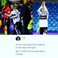 DM this to someone 😂: ORTS  Zdafabet  56  5  25  @vieiraview  15-year-old Harvey Elliot made his  Fulham debut last night.  Born in 2003, he's the same age as  Chelsea DM this to someone 😂