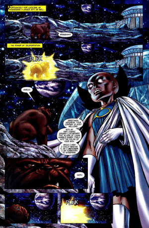 """Oh so now he actually follows that """"oath"""" of his!: ORTUNATELY FOR LOCKJAW, HE  POSSESSES A UNIQUE GIFT AS WELL..  RRRRRHHH  THE POWER OF TELEPORTATION  PLINK  AWROO!  GREETINGS  NEIGHBOR, YOUR  COMPANY IS MOST  WELCOME  WITH MY  VAST COSMIC  SENSES I WITNESSED  THAT SLIVER OF LUNAR  MARBLE EMBED ITSELF  INTO THE FOLDS OF  YOUR SKIN.  WHILE I WISH  I COULD REMOVE  IT, AS A WATCHER  I AM FORBIDDEN  TO INTERFERE.  HMPH!  PLINK Oh so now he actually follows that """"oath"""" of his!"""