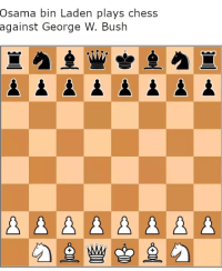 Outstanding move, Mr. Bush: Osama bin Laden plays chess  against George W. Bush Outstanding move, Mr. Bush