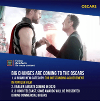 Facts, Memes, and Oscars: OSCARS  Follow  ONEMA  RT'İ | @cinfacts  for more content  BIG CHANGES ARE COMING TO THE OSCARS  1. A BRAND NEW CATEGORY FOR OUTSTANDING ACHIEVEMENT  IN POPULAR FILM  2. EARLIER AIRDATE COMING IN 2020  3.3-HOUR TELECAST, SOME AWARDS WILL BE PRESENTED  DURING COMMERCIAL BREAKS Your thoughts? Do you watch the Oscars? - Follow @cinfacts for more facts