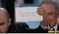 Atlanta Falcons, Memes, and Falcons: OSCARS  The Atlanta Falcon  blew a 28-3 lead  LIVE What the card really said Oscars