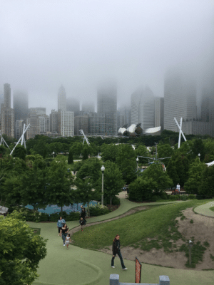 Chicago from Maggie Daley Park.: OSE OF  LAAY PIEC  H URQI Chicago from Maggie Daley Park.
