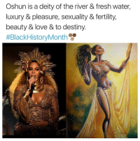Fresh, Memes, and Deity: Oshun is a deity of the river & fresh water,  luxury & pleasure, sexuality & fertility,  beauty & love & to destiny