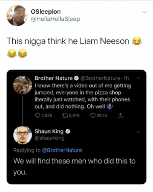 He has a very particular set of skills: Osleepion  @HellaHellaSleep  This nigga think he Liam Neeson  Brother Nature  @BrotherNature 1h  I know there's a video out of me getting  jumped, everyone in the pizza shop  literally just watched, with their phones  out, and did nothing. Oh well  O 2,626  36.1K 1  275,919  Shaun King  @shaunking  Replying to @BrotherNature  We will find these men who did this to  you. He has a very particular set of skills