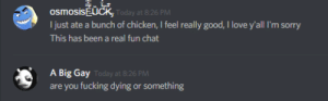 Fucking, Love, and Sorry: osmosisEUCK  Ijust ate a bunch of chicken, I feel really good, I love y'all I'm sorry  This has been a real fun chat  Today at 8:26 PM  A Big Gay  are you fucking dying or something  Today at 8:26 PM