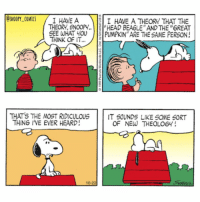 "Memes, Snoopy, and Theology: OSNOOPY COMICS  I HAVE A  I HAVE A THEORY THAT THE  THEORY, SNOOPY..  HEAD BEAGLE AND THE ""6REAT  SEE WHAT YOU  PUMPKIN""ARE THE SAME PERSON!  THINK OF IT...  THAT's THE MOST RIDICULOUS  IT SOUNDS LIKE SOME SORT  THING I'VE EVER HEARD!  OF NEW THEOLOGY! The head beagle (continued) comics cartoon snoopy snoopycomics linus"