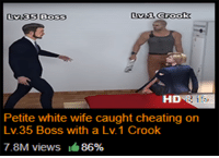 Cheating: OSS  HD  Petite white wife caught cheating orn  Lv.35 Boss with a Lv.1 Crook  7.8M views  86%