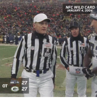 """Memes, Wild, and 🤖: OT  27  27  86  NFC WILD CARD  JANUARY 4, 2004 On this day back in 2004… """"We want the ball and we're gonna score."""" NFLPlayoffs"""