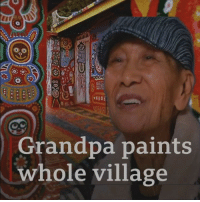 Memes, Work, and Grandpa: ot  Grandpa paints  whole village Meet 96-year-old Huang who saved his home from demolition thanks to his incredible artwork. He started painting his Taiwanese village seven years ago and his colourful images have helped it to become one of Taichung City's leading tourist attractions. More than a million visitors come here every year to see Huang's wonderful work. rainbowvillage art taichung taiwan bbcnews