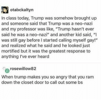 "Memes, Today, and Trump: otabckaltyn  In class today, Trump was somehow brought up  and someone said that Trump was a neo-nazi  and my professor was like, ""Trump hasn't ever  said he was a neo-nazi"" and another kid said, ""I  was still gay before I started calling myself gay!""  and realized what he said and he looked just  mortified but it was the greatest response to  anything I've ever heard  rosewillow82  When trump makes you so angry that you ram  down the closet door to call out some bs 💥💥💥💥"