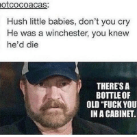"""Fuck You, Memes, and Fuck: otcocoacas:  Hush little babies, don't you cry  He was a winchester, you knew  he'd die  THERESA  BOTTLE OF  OLD """"FUCK YOU  INACABINET. Me @ season 12 finale"""