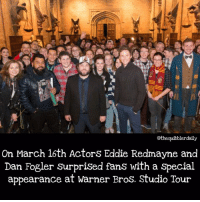 Memes, 🤖, and Snape: othequibblerdaily  On March 16th Actors Eddie Redmayne and  Dan Fogler Surprised fans with a Special  appearance at Warner Bros. Studio Tour Anyone doing anything interesting this weekend? . . . . . . . . __________________________________________________ __________________________________________________ harrypotter potterhead wizardingworld wizardingworldofharrypotter gryffindor hufflepuff slytherin ravenclaw hogwarts hogwartsismyhome bookstagram likeforlike hermione sharethemagic hermione bookworm ronweasley voldemort harrypotterfacts hpfacts snape dracomalfoy fangirl hp facts fandom emmawatson fantasticbeasts fbawtft