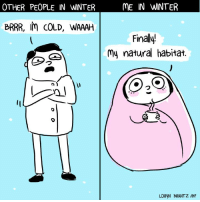 Memes, 🤖, and Habitat: OTHER PEOPLE IN WNTER  BRRR, COLD, WAAAH  ME IN WINTER  Finally!  my natural habitat.  LORyN BRANTZ IBF