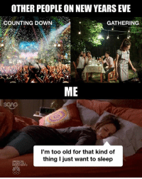 Memes, New Year's, and Old: OTHER PEOPLE ON NEW YEARS EVE  COUNTING DOWN  GATHERING  -%;  ME  SGAG  I'm too old for that kind of  thing I just want to sleep My favorite way to go into the New Year!