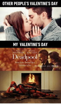 Dank, 🤖, and App: OTHER PEOPLE'S VALENTINE'S DAY  MY VALENTINE'S DAY  Rian  Morena  REYNOLDS BACCARIN  Deadpool  True Love Never Dies  Waler  e's Day Thanks Deadpool Movie, my Valentine's Day will be awesome this year! 9GAG Mobile App: www.9gag.com/mobile?ref=9fbp  http://9gag.com/gag/a97rGZm?ref=fbp