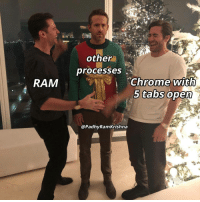 Chrome, Ram, and Open: other  processes  Chrome with  5 tabs open  RAM  @PadhyRamKrishna