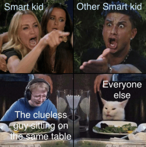 Sums up math: Other Smart kid  Smart kid  Everyone  else  The clueless  guy sittng on  the same table Sums up math