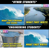 Memes, Engineering, and 🤖: *OTHER STUDENTS  RVC J  WWW.RVCJ.COM  WHAT THEY PREPARE  WHAT THEY  WRITE  FOR EXAMS  *ENGINEERING STUDENTS  RV CJ  WWW. RVCU.COM  WHAT THEY PREPARE  WHAT THEY WRITE  A NIGHT BEFORE EXAMS Engineering student v-s others student.. rvcjinsta