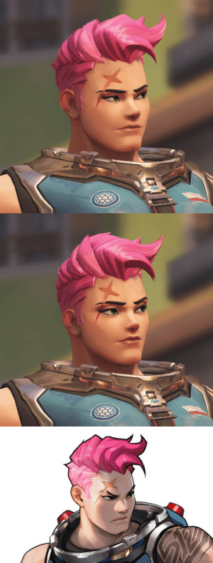 otherwindow:  Zarya edited with her official-art appearance (left) versus her in-game appearance (right).: otherwindow:  Zarya edited with her official-art appearance (left) versus her in-game appearance (right).