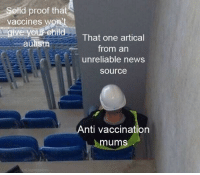 """Facebook, News, and Saw: otid proof that  vaccines w  ou Child  That one artical  from an  unreliable news  source  autism  Anti vaccination  mums """"I saw this link on Facebook"""""""