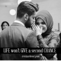 "LIFE WON'T GIVE SECOND CHANCE. . It was their anniversary, and Aisha was waiting for her husband Ahmed to show up. . Things had changed since their marriage, the once cute couple couldn't-live-without-each-other had turned bitter. . Fighting over every little things, both didn't like the way things had changed. . Aisha was waiting to see if Ahmed remembered it was their anniversary! . Just as the door bell rang she ran to find her husband wet and smiling with a bunch of flowers in his hand. . The two started re-living the old days. Sharing old beautiful memories. And it was raining outside! It was perfect. . But the moment paused when the phone in the bedroom rang. Aisha went to pick it up and it was a man. ""Hello ma'am I'm calling from the police station. Is this Mr Ahmed Hasan's number?"" ""Yes it is!"" . ""I'm sorry ma'am; but there was an accident and a man died. We got this number from his wallet; we need you to come and identify his body."" . Aisha's heart sank.!!! She was shocked! . But my husband is here with me?"" ""Sorry ma'am, but the incident took place at 2 pm, when he was boarding the train."" . Aisha was about to lose her conscience. . How could this happen?? She ran into the other room. . He was not there. It was true! He had left her for good!! . She rolled on the floor in pain. She lost her chance Forever! . Suddenly there was a noise from the bathroom, the door opened and Ahmed came out and said ""Darling, I forgot to tell you my wallet got stolen today"". . . LIFE MIGHT NOT GIVE YOU A SECOND CHANCE. SO NEVER WASTE A MOMENT WHEN YOU CAN STILL MAKE UP FOR YOUR WRONGS!!! . So for Allaah's sake let's start making amendments... To parents To siblings To friends And many more other relationships.. No one is promised tomorrow. Have a wonderful Life with no regrets!: OTOGRAPH  LIFE won't IVE a second CHANCE  @islam4everyone LIFE WON'T GIVE SECOND CHANCE. . It was their anniversary, and Aisha was waiting for her husband Ahmed to show up. . Things had changed since their marriage, the once cute couple couldn't-live-without-each-other had turned bitter. . Fighting over every little things, both didn't like the way things had changed. . Aisha was waiting to see if Ahmed remembered it was their anniversary! . Just as the door bell rang she ran to find her husband wet and smiling with a bunch of flowers in his hand. . The two started re-living the old days. Sharing old beautiful memories. And it was raining outside! It was perfect. . But the moment paused when the phone in the bedroom rang. Aisha went to pick it up and it was a man. ""Hello ma'am I'm calling from the police station. Is this Mr Ahmed Hasan's number?"" ""Yes it is!"" . ""I'm sorry ma'am; but there was an accident and a man died. We got this number from his wallet; we need you to come and identify his body."" . Aisha's heart sank.!!! She was shocked! . But my husband is here with me?"" ""Sorry ma'am, but the incident took place at 2 pm, when he was boarding the train."" . Aisha was about to lose her conscience. . How could this happen?? She ran into the other room. . He was not there. It was true! He had left her for good!! . She rolled on the floor in pain. She lost her chance Forever! . Suddenly there was a noise from the bathroom, the door opened and Ahmed came out and said ""Darling, I forgot to tell you my wallet got stolen today"". . . LIFE MIGHT NOT GIVE YOU A SECOND CHANCE. SO NEVER WASTE A MOMENT WHEN YOU CAN STILL MAKE UP FOR YOUR WRONGS!!! . So for Allaah's sake let's start making amendments... To parents To siblings To friends And many more other relationships.. No one is promised tomorrow. Have a wonderful Life with no regrets!"