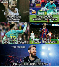 OTR  SIN  Inmost Goals&  This Season  Assists This Season  QATAR  most UOLiga  UCL  Goals Thisseason Gools This Season  Troll Football  Finally, most Goals This Year Leo Messi! 😎🔥