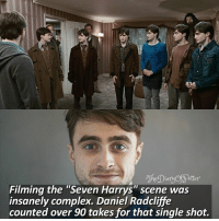 """What is your favourite scene in Harry Potter? 💖 Comment '😍' if you knew this fact and '😮' if you didn't. • Potterheads⚡count: 107,492: otter  Filming the """"Seven Harrys"""" scene was  insanely complex. Daniel Radcliffe  counted over 90 takes for that single shot. What is your favourite scene in Harry Potter? 💖 Comment '😍' if you knew this fact and '😮' if you didn't. • Potterheads⚡count: 107,492"""