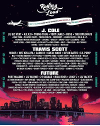 What do y'all think of RollingLoud's lineup in Miami this year? 😳🤔 @RollingLoud WSHH: ou  ALLAGES I ROLLINGLOUD.COM  11-13, 2018 | HARD ROCK STADIUM I MIAMI GARDENS  J. COLE  LIL UZI VERT+ N.E.R.D-YOUNG THUG-TORY LANE2+ Russ-THE DIPLOMATS  AŞAP FERG. PLAYBOI CARTI YOUNG DOLPH. CURRENŞY. JADEN SMITH BIG K.R.I.T  YOUNGBOY NEVER BROKE AGAIN . JUVENILE . DREEZY . SMINO . BAS . CASANOVA . COZZ  NIGHT LOVELL . YUNG SIMMIE-RICO NASTY . KING COMBS-KILL-CRAIG XEN-KID TRUNKS  KEMBA LUTE.SWOOSH ALEX D. NATE DAE  TRAVIS SCOTT  MIGOS  WIZ KHALIFA . CARDI B·GUCCI MANE-KEVIN GATES . LIL PUMP  NAV . METRO BOOMIH-FETTY WAP . TRIPPIE REDD-CHIEF KEEF-RICH THE KID-BELLY  LILXAN TRICK DADDY & TRINA FAMOUS DEX LIL SKIES SMOKEPURPP WIFISFUNERAL. J.I.D  PRINCESS NOKIA MAXO KREAM LIL BABY . SAHBABII . PREME-HOODRICH PABLO JUAN  YUNG BANs-MOLLY BRAZY . CUBAN DOLL SMOOKY MARGI ELAA+ 0MEN·CHXPo-BALL GREEZY  CORNERBOY P JACK HARLOW LARRY LEAGUE MARTY GRIMES SWAGHOLLYWO0D  BIG BABY SCUMBAG DANNY TOWERS WOOP BRI STEVES JOHNNY OZ.VOCAINE  +  FUTURE  POST MALONE> LIL WAYNE-21 SAVAGE-RICK ROSS·JUICY J . LIL YACHTY  -ACTION BRONSON-ROY WOOD$ . SKI MASK THE SLUMP GOD-MACHINE GUN KELLY . $UICIDEBOY$  트  POUYA UGLY GOD YBN NAHMIR FAT NICK CUPCAKKE YUNG LEAN YUNG PINCH SOB X RBE  GUNNA INJURY RESERVE EARTHGANG ROBB BANKS DON TRIP & STARLITO. SKOOLY  SHORELINE MAFIA . SAWEETIE-BLOCBOY JB+ 03 GREED0-BALI BABY-KODIE SHANE-INDIGOCHILDRICK  WOLFTYLA TYLA YAWEH CASSOW LIL GNAR CUZ LIGHTYEAR 1WAYFRANK THUTMOSE  FAMOUS KID BRICK CMULA E MONEY ONE 11 What do y'all think of RollingLoud's lineup in Miami this year? 😳🤔 @RollingLoud WSHH