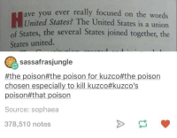 !!!!!! https://t.co/8fqexr1zys: ou ever really focused on the words  United States? The United States is a union  of States, the several States joined together, the  ave y  States united  sassafrasjungle  #the poison#the poison for kuzco#the poison  chosen especially to kill kuzco#kuzco's  poison#that poison  Source: sophaea  378,510 notes !!!!!! https://t.co/8fqexr1zys