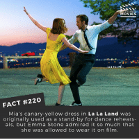 Did you enjoy La La Land? I think it was very much a love it or hate it film. 🎥 . . . . All credit to the respective film and producers. movie movies film tv camera cinema fact didyouknow moviefacts cinematography screenplay director actor actress act acting movienight cinemas watchingmovies hollywood bollywood didyouknowmovies: OU KNOW  MOVIES  FACT #220  Mia's canary -yellow dress in  La La Land was  originally used as a stand-by for dance rehears-  als, but Emma Stone admired it so much that  she was allowed to wear it on film Did you enjoy La La Land? I think it was very much a love it or hate it film. 🎥 . . . . All credit to the respective film and producers. movie movies film tv camera cinema fact didyouknow moviefacts cinematography screenplay director actor actress act acting movienight cinemas watchingmovies hollywood bollywood didyouknowmovies
