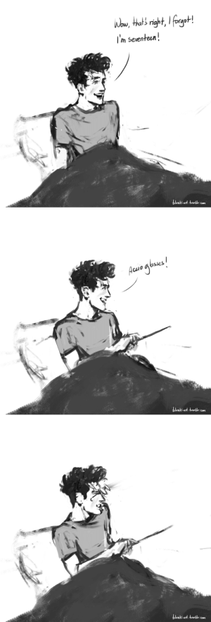 blvnk-art:  Although the glasses were only around a foot away, there was something immensely satisfying about seeing them zoom towards him, at least until they poked him in the eye. HP 7, ch: The Will of Albus Dumbledore    Happy Birthday, m'boy!   : ou  s n  I'm seventeen  blnk-art.tmbr.om   lo asses  VNK-art.twmbr. com blvnk-art:  Although the glasses were only around a foot away, there was something immensely satisfying about seeing them zoom towards him, at least until they poked him in the eye. HP 7, ch: The Will of Albus Dumbledore    Happy Birthday, m'boy!